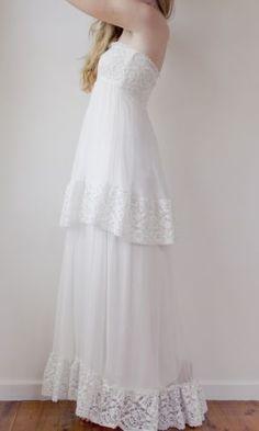 strapless French lace layered wedding dress
