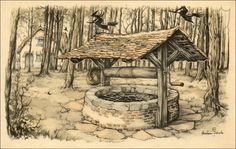 Well of Frau Holle (Cinderella) - Tales of the Efteling by Martine Bijl and Anton Pieck Anton Pieck, Johannes Vermeer, Legends And Myths, House Drawing, Dutch Painters, Dutch Artists, Vincent Van Gogh, Vintage Posters, Painting & Drawing