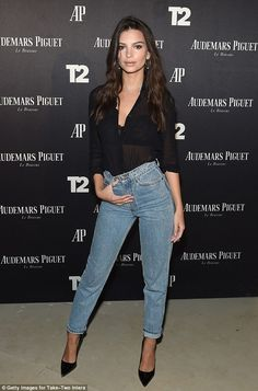 Miami heat! Emily Ratajkowskikept things casual yet sexy in a sheer black blouse that flashed her lacy bra at the kickoff party for Audemars Piguet Art Commission of Reconstruction Of The Universe in Miami