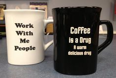 Laser engraved mugs. Sample ideas, but we can do any custom ones too.