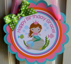 Little Princess Mermaid Birthday Party Door Sign
