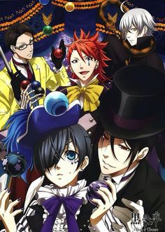 "Black Butler: Book of Circus ~~ Note ""Suit"" in the bright yellow. Thanks, Will, for playing along. Could you find an excuse to add more Grell than the manga had, too?"