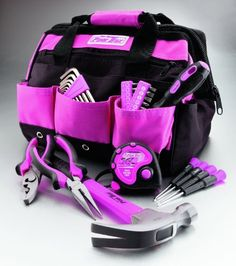 Pink Soft-Sided Tool Bag with Tool Set from The Original Pink Box - California Jeep Authority - Jeep Gifts, Shirts, Toys and Accessories Pink Tool Box, Tools For Women, Belt Pouch, Wrench Set, Everything Pink, Tool Set, Pretty In Pink, Baby Car Seats, Pink Ladies