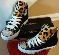 Leopard Print Swarovski Crystal Converse Shoes e4aa03868