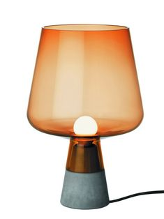 Leimu is a table lamp with a strong concrete base and an impressive glass lampshade. Contemporary Light Fixtures, Modern Lighting, Lighting Design, Light Table, A Table, Table Lamp, Verre Design, Lamp Design, Copper Lamps