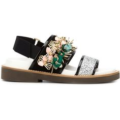 Marni Fussbett Embellished Sandals ($1,150) ❤ liked on Polyvore featuring shoes, sandals, black, black shoes, black embellished sandals, flat shoes, open toe sandals and velcro sandals