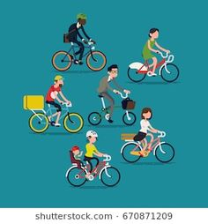 Abstract people riding bikes. Cool vector flat design concept on diverse group of people on bikes. Bicycle commuters