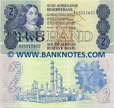 "South Africa 2 Rand (1978-1990)  Obverse: Portrait of Johan Anthoniszoon ""Jan"" van Riebeeck (21 April 1619 – 18 January 1677); Infrastructure: electric power transmission tower. Reverse: Manufacturing: oil refinery; gears. Signature: Gerhard Petrus Christiaan de Kock (President Governor, in office from January 1981 to 7 August 1989). Watermark: Effigy of Jan van Riebeeck."