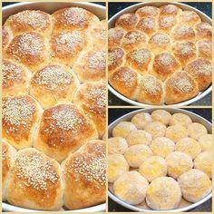 Ψωμάκια αφρός γεμιστά με φέτα!! ~ ΜΑΓΕΙΡΙΚΗ ΚΑΙ ΣΥΝΤΑΓΕΣ Rigatoni, Hamburger, Delish, Deserts, Food And Drink, Bread, Cooking, Breakfast, Recipes