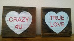 Rustic Valentines heart signs conversation heart by EdisonAvenue