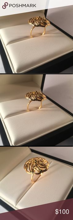 18k Gold plated  Brass Ring This unique peace is unique and limited, the brass is plated first with nickel and them with 18k gold to made the plating, more durable.      Material: 18k gold plated, brass    Size :  US 6.5     Hand made,  and limited    Condition: new Jewelry Rings