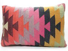 "Organic Shine Society /Modern Bohemian Home Decor,Handwoven Turkish Kilim Lumbar Pillow Cover 20"" X 14"",Decorative Kilim Pillow,Throw Pillow..."