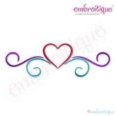 April - June - Simple Heart Flourish Border - Small on sale now at Embroitique! Embroidery Hearts, Embroidery Files, Machine Embroidery Designs, Embroidery Patterns, Monogram Alphabet, Monogram Fonts, Monograms, Flourish Border, Heart Font