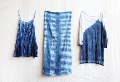 shibori: dyeing with indigo different techniques) Free People Clothing Shibori Tie Dye, Free People Blog, Textiles, Indigo Dye, How To Dye Fabric, Tye Dye, Diy Clothing, Couture, Diy Fashion