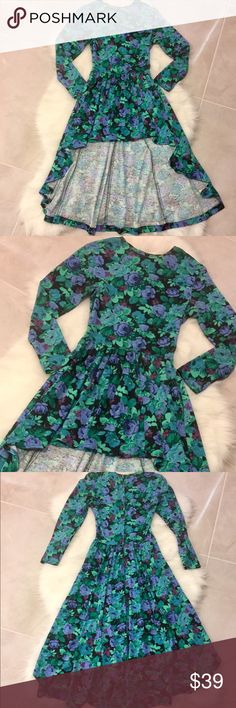 Vintage High Low Green Floral Dress, size small Beautiful vintage high low dress. Green with flowers. Long sleeves and boat neck. Vintage Dresses High Low