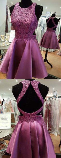 Modern A-Line Jewel Sleeveless Purple Short Homecoming Dress #homecomingdresses #shorthomecomingdresses #fashionhomecomingdresses #graduationdresses