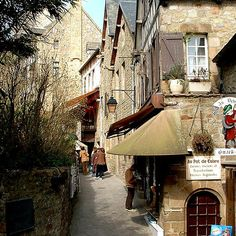 Narrow streets of Mont St Michel, France