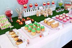 pink green strawberry shortcake picnic birthday party dessert table