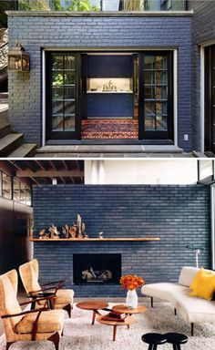 33 trendy exterior paint colora for house with brick green living rooms Brick Interior, Interior Windows, Interior Design, Small Fireplace, Brick Fireplace, Mid Century Exterior, Living Room Green, Living Rooms, Mid Century House