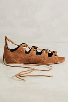 Slide View: 2: Lola Cruz Lace-Up Suede Sandals