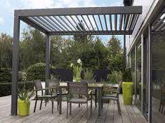 terraza con pergola metlica moderna en color gris ideal para pequeos espacios exteriores y disfrutar - Pergola Metalica
