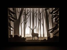 Paper Cut Silhouette Light Box Deer in the Woods