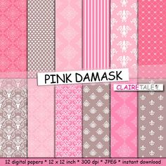 Damask digital paper: PINK DAMASK with pink and by ClaireTALE