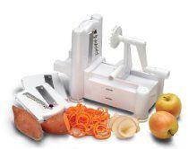 http://myshoppingbusiness.com/talbott5184/    The spiral vegetable slicer cuts vegetables and fruits into curly, ribbon-like slices. By placing the vegetable or fruit on the prongs of the wheel and turning the wheel while pushing the base toward the vertical julienne blade, continuous spiral strands