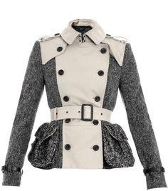 Gaberdine and Tweed Trench Jacket