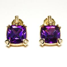 Vintage Cushion Cut Amethyst Rhinestone Gold Plate Earrings Heart Shaped Prongs Judith Ripka Inspired High End Costume Jewelry via Etsy