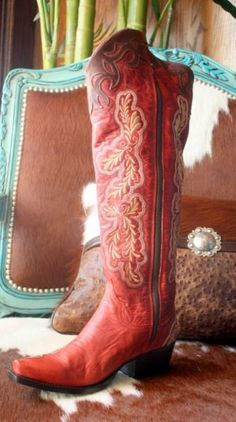 "LANE TALL ""AMBER"" RED BOOTS"