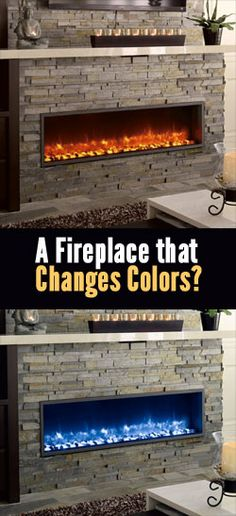 Modern, contemporary electric fireplace inserts with glass/ice bed and flames that change colors. Recess into a wall or fit into an existing fireplace hearth. Green, energy saving units that cost l… Shiplap Fireplace, Concrete Fireplace, Fireplace Hearth, Fireplace Remodel, Fireplace Inserts, Modern Fireplace, Fireplace Surrounds, Fireplace Design, Fireplace Ideas