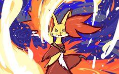 Delphox joins my Pokemon Power Portrait series. Hd Pokemon Wallpapers, Pokemon Backgrounds, Fire Pokemon, My Pokemon, Pokemon Images, Pokemon Pictures, Mega Evolution Pokemon, Deviantart Pokemon, Pokemon Sketch