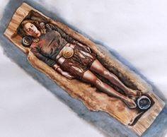 Das Grab des Egtved-Mädchens. Zeichnerische Rekonstruktion nach Fundlage. (Bild: National Museum of Denmark)