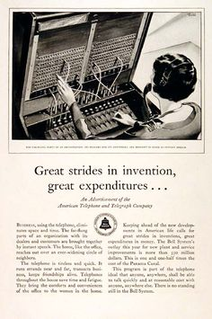 1929 Bell Telephone original vintage advertisement. Features a telephone operator at work on the switchboard.