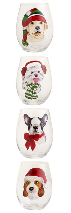 Christmas has gone to the dogs—and that's a good thing. Pier1's quartet of handblown glasses features cute pooches, painted by hand and dressed for the winter weather. It's the perfect gift for dog lovers.