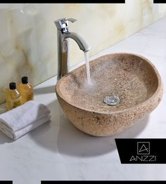 Attractive Leopards Crest Vessel Sink in Yellow River Stone - Did you know? Our Leopards Crest yellow river stone vessel sink is handcrafted and polished to exquisite perfection. Click here: http://www.anzzi.com/product/anzzi-leopards-crest-ls-az159/ #BathroomSink #Sink #VesselSink #Sinks #VesselSinks #BathroomSinks
