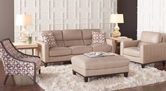 Prospect Park Sand Leather 5 Pc Living Room