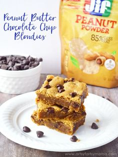Peanut Butter Chocolate Chip Blondies #StartWithJifPowder #ad