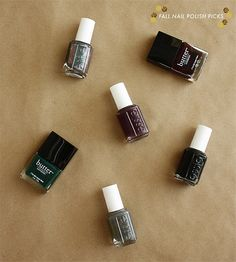 nail polish picks for fall 2013 butter london: la moss, british racing green essie: for the twill of it, cary on, licorice, power clutch