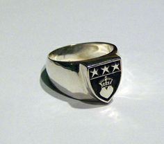 Douglas Clan Crest Signet Ring in Sterling Silver