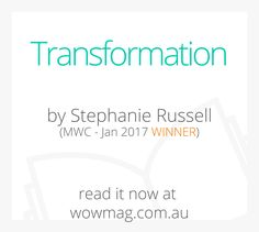 Congratulations Stephanie Russell, Transformation is January's Winning Story. You won a $20 W.O.W OP Shop voucher & a $20 Officeworks gift card. Read her story now at wowmag.com.au #wowfun First Story, Trivia, Congratulations, Reading, Gift, Shop, Cards, Quizes, Reading Books