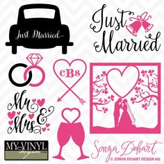 DIGITAL DOWNLOAD ... Wedding vectors in AI, EPS, GSD, & SVG formats @ My Vinyl Designer #myvinyldesigner #sonyadehartdesign