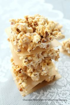 Mix up a few of your favorite treats with these Caramel Popcorn Marshmallow Treats via Uncommon Designs