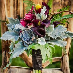 Purple Calla Lily and Succulent Bridal Bouquet