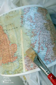 Vintage Map Lampshade Tutorial