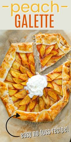 Peach Galette –– A gorgeous pastry filled with rows of peaches and a dollop of cream at the center. No pie plate necessary to make this perfect peach dessert! Perfect Peach, Pie Plate, Photo Tips, The Row, Tart, Snacks, Desserts, Summer Recipes, Tailgate Desserts