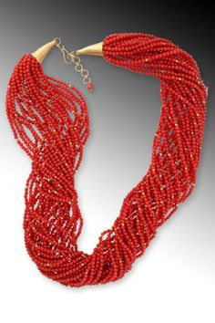 Abundance: Twenty-six strands of tiny red coral beads - interspersed with gold faceted beads - drape beautifully on any neck. Wear as a twisted torsade or let hang loose. (Coral imported with required CITES permits. Old Jewelry, Beaded Jewelry, Jewelery, Turquesa E Coral, Gem Ruby, Silk Road, Red Coral, Red Fashion, Shades Of Red