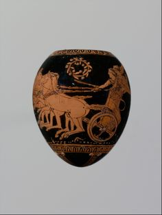 Terracotta oon (egg). Attributed to the Washing Painter. Classical. ca. 420–410 B.C. Greek, Attic. Youth abducting woman. Eggs are well attested as funerary offerings—real eggs, artistic counterparts in marble and terracotta or, as here, diminutive vases of egg shape.