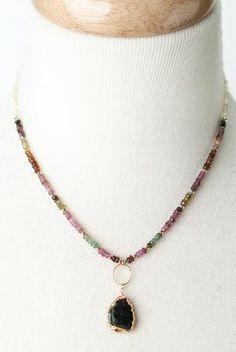 "Details about  /Chips Tourmaline//Green Peridot 18/"" Necklace White Keshi Keishi Pearl Pendant"